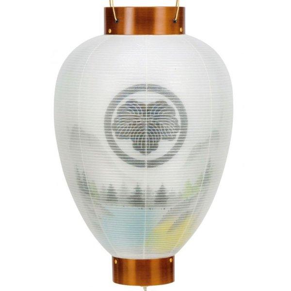 画像2: 家紋入り盆提灯 御所提灯 美濃利作 けやき調大和山水 二重内絵