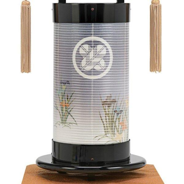 画像2: 家紋入り盆提灯 法霊燈 「巧黒塗り/秋草」飾り台付