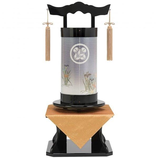 画像1: 家紋入り盆提灯 法霊燈 「巧黒塗り/秋草」飾り台付