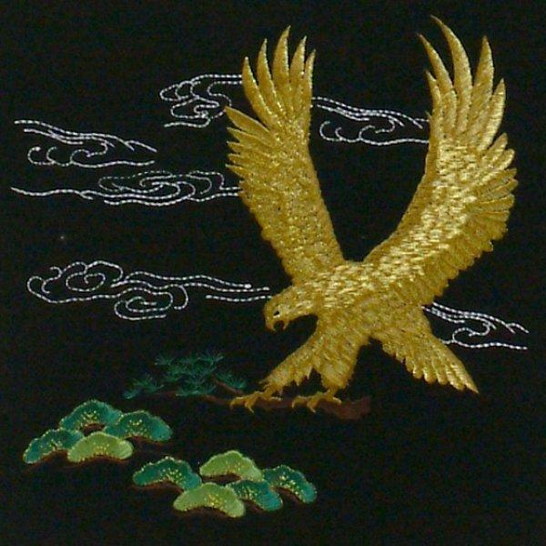 画像2: 五月人形用 名入れ刺繍旗「鷹」大