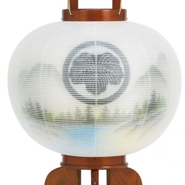 画像2: 家紋入り盆提灯 大内行灯 美濃利作 けやき調大和山水 二重内絵
