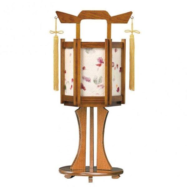 画像1: インテリア盆提灯 雅盆付 小けやき(押し花)