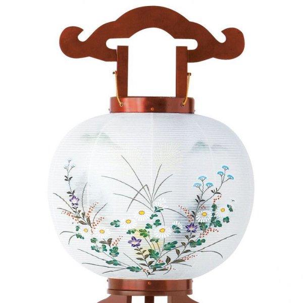 画像2: 家紋入り盆提灯 美濃利 大内行灯 11号さくら「菊に山水」