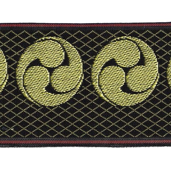 画像1: 家紋入り毛氈(フェルト)敷折織左三つ巴(ひだりみつどもえ)