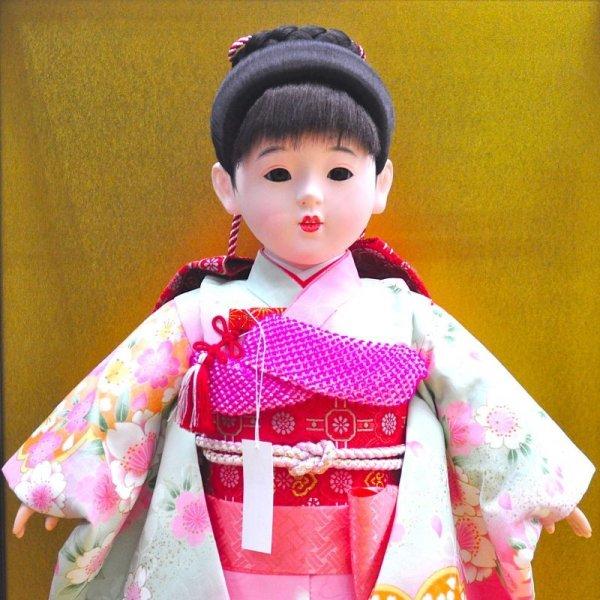 画像2: 久月 市松人形ケース 13号金彩友禅