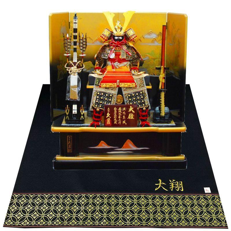 久月 五月人形(鎧飾り) 正絹赤糸縅10号大鎧 - 人形のウエダ